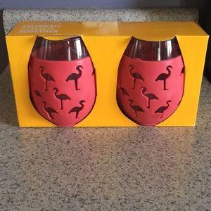 Flamingo set of 2 Wine Glasses